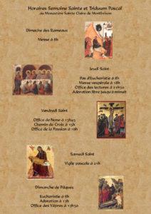 Horaires Semaine Sainte