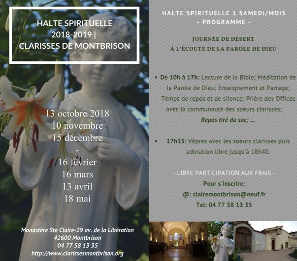 Programme des samedi «Haltes Spirituelles» 2018-2019