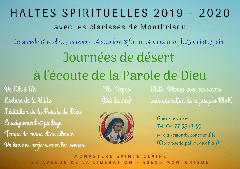 HALTES SPIRITUELLES 2019 – 2020